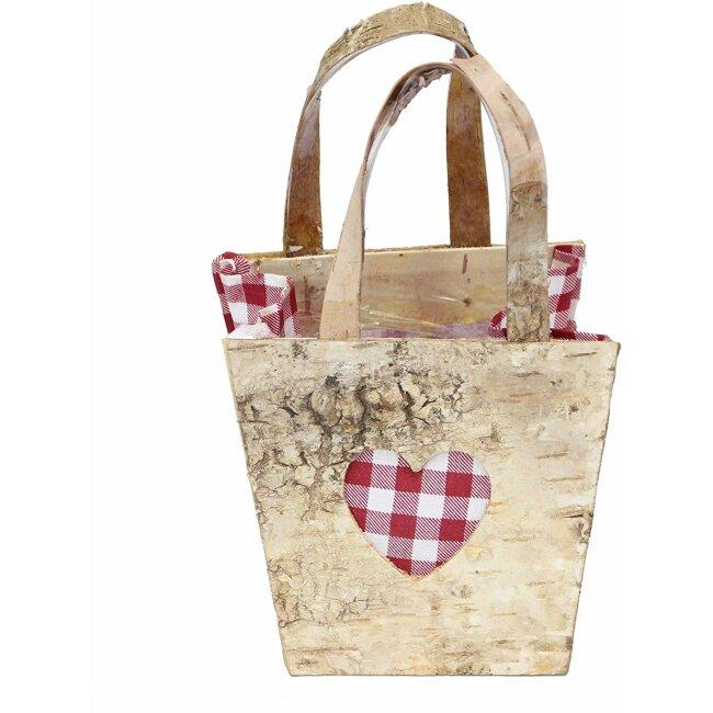 Pflanz-Tasche mit Karoherz