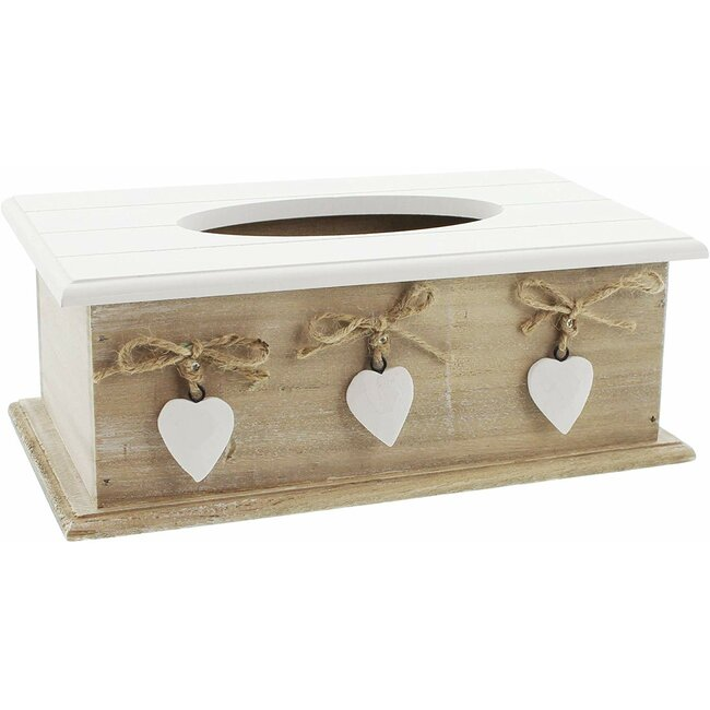 Tissue-Box White Heart im Landhaus-Stil