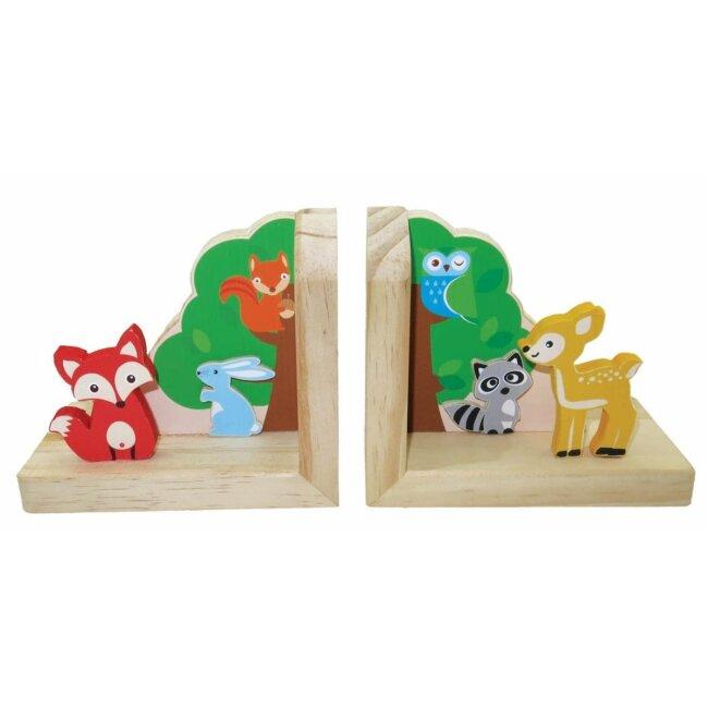 Buchstützen Waldtiere, 2er-Set, aus Holz