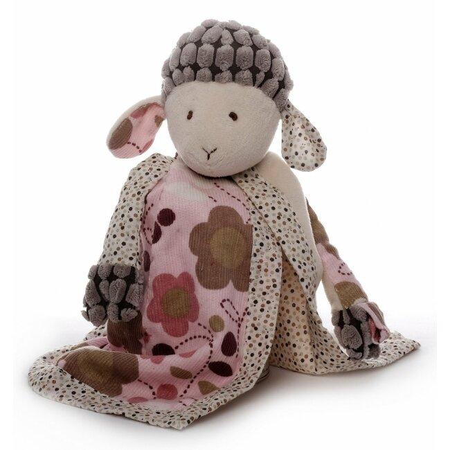 Schmusetuch Schaf Sweety mit Schnullerhalter, creme/rosa, Schnuffeltuch, Trösterchen, 26 cm
