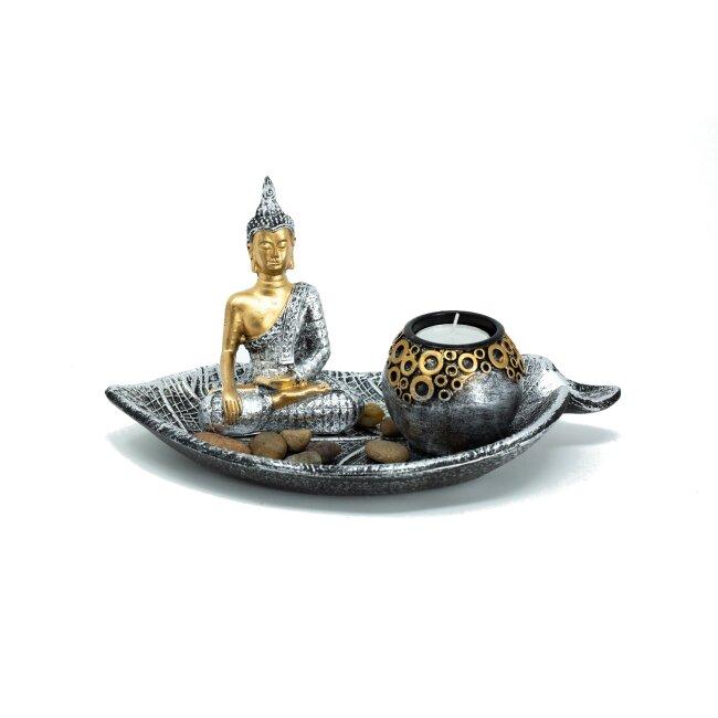 Buddha Set mit Teelichthalter, ca. 25 cm