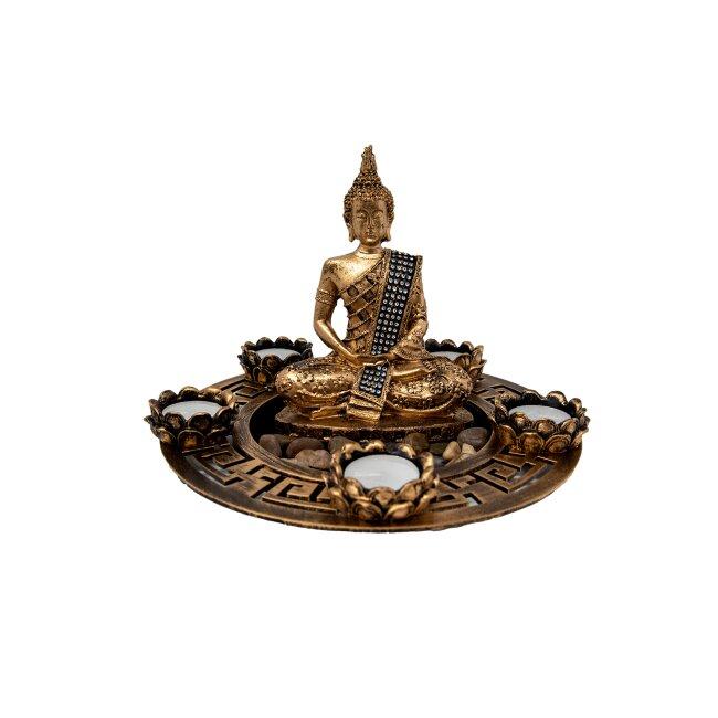 Buddha-Set für Teelichter in Gold, ca. 20 x 27 cm