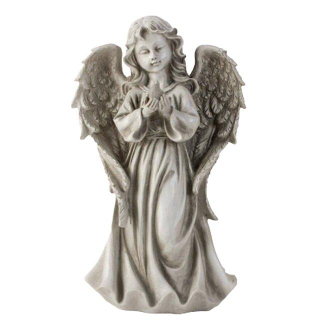 Engel stehend mit Vogel in der Hand h=32cm