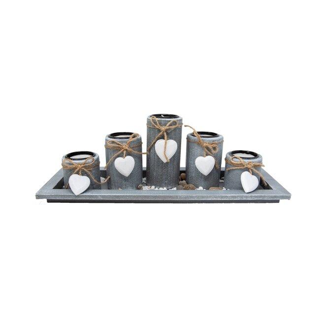 Teelichthalter-Set, ca. 38 x 13 cm