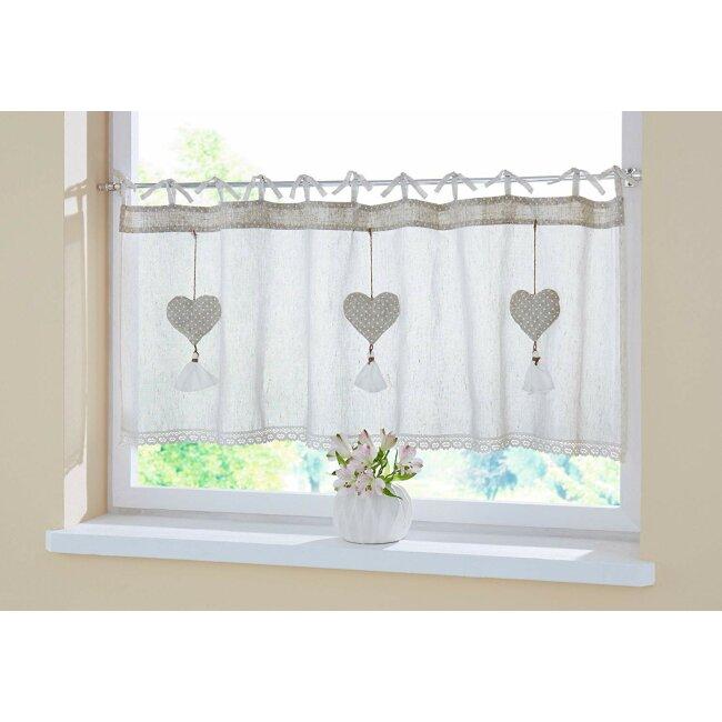 Fenstervorhang Herzanhänger 140 x 45 cm