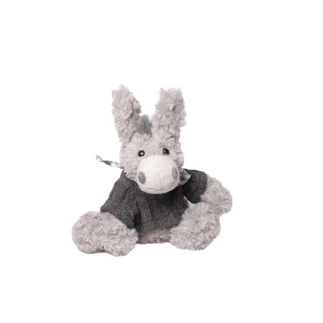 Esel mit grauem Pullover, ca. 20 cm