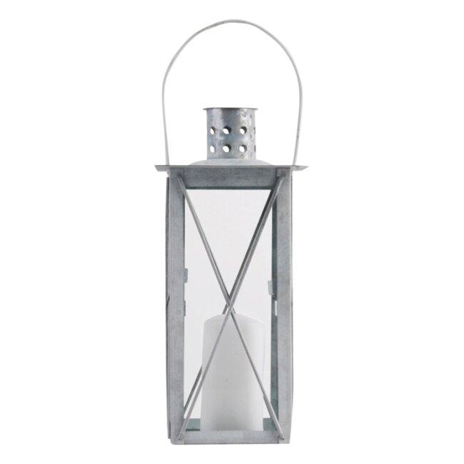Altzink Laterne, Windlicht, ca. 12 x 12 x 25,5 cm
