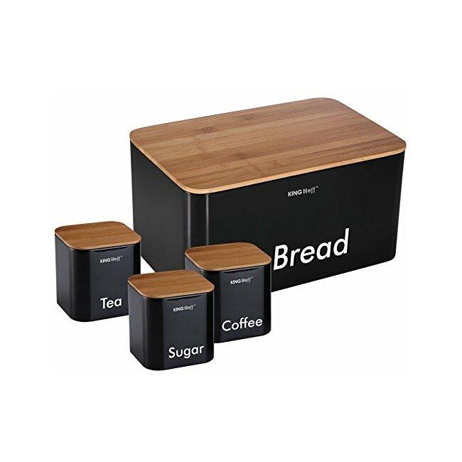 Brotkasten, Brotbox Brotkiste, Zuckerdose, Kaffeedose, Teedose 4tlg.- Schwarz