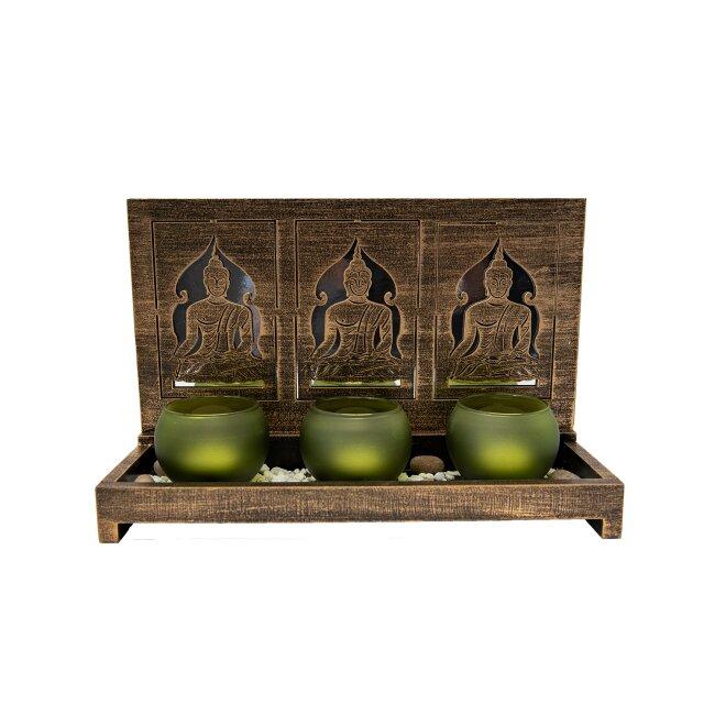 Buddha Set mit Gläsern und Teelichtern, 3tlg.