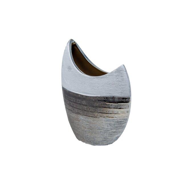 Mondförmige Vase aus Keramik, silber/weiß, ca. 23 cm