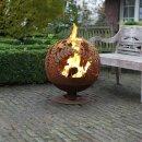 Feuerschale Feuerball im Rostton Blumenmotiv...