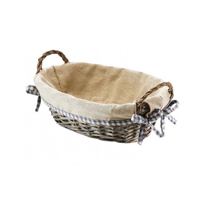 Dekoschale Oval aus Weide mit beiger Textileinlage ca. 26 CM