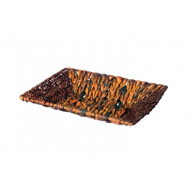 Dekoschale Rechteckig aus Wasserhyazinthe und Seegras in Braun ca. 36 x 25 cm