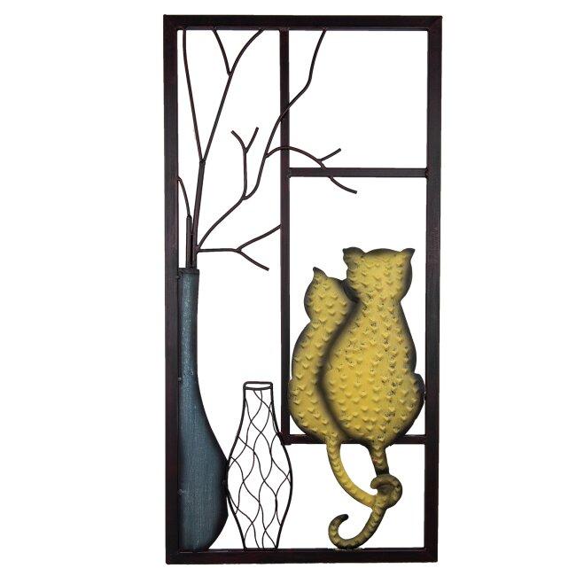 Wandrelief Wandbild Dekoration Katzen aus Fenster 80 cm