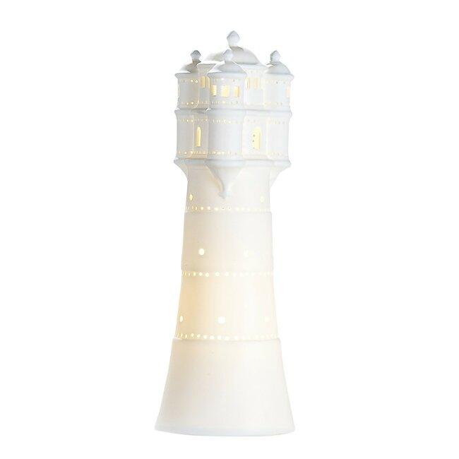 Tischlampe Leuchte Leuchtturm weiß aus Porzellan 35 cm