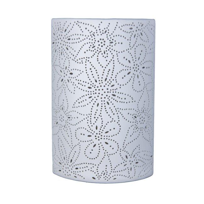 Tischlampe Leuchte Blume weiß aus Porzellan, ca. 28 cm