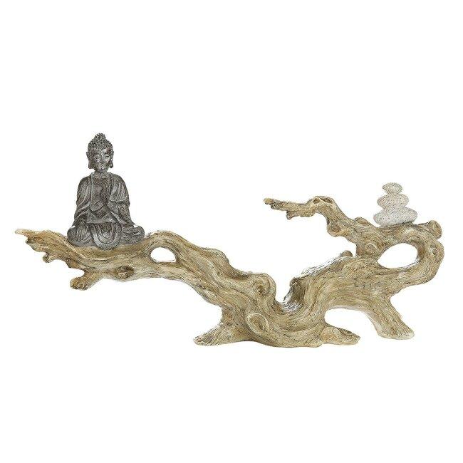 Buddha Figur auf Baumstamm, ca. 35 cm