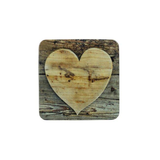 Untersetzer Herz Holz, 6er Set