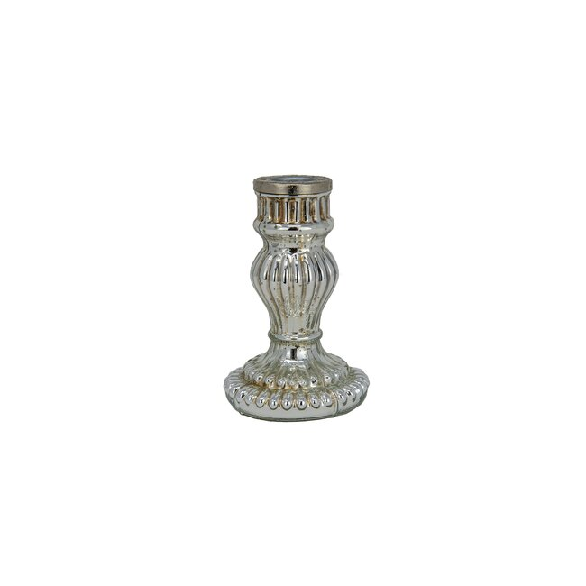 Kerzenhalter Vitreous, silber, Glas, ca. 7 x 7 x 11 cm
