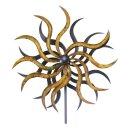 Windrad Sonne Gartenstecker aus Metall 185 cm