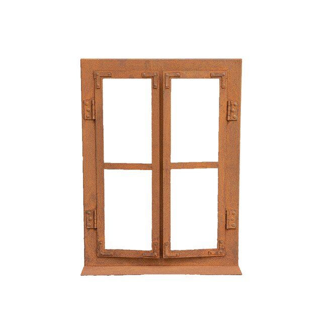Deko Fensterrahmen aus Metall, in Rostoptik, ca. 40 x 33 cm
