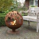 Feuerball, Feuerschale, lasergeschnitten, Blätter Rost