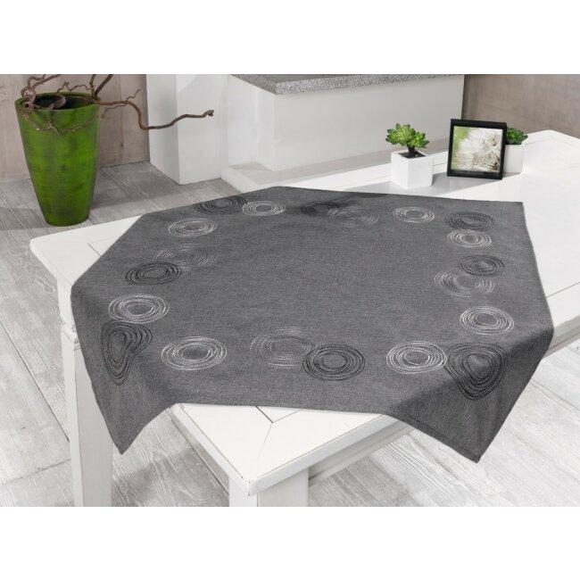 Tischdecke anthrazit mit Kreisen bestickt 85 x 85 cm