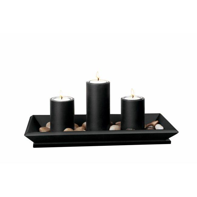 Kerzenhalter Schwarz  inkl. 3 Teelichter 34 cm