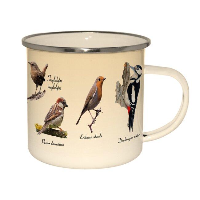Emaillebecher Vögel, ca.10 L x 12 B x 9,3 H cm