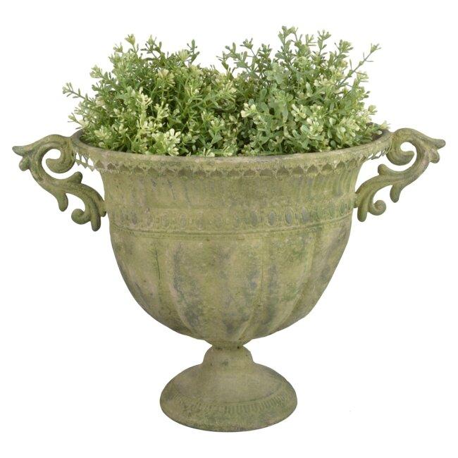 Aged Metal Grün Vase oval L, Pflanzvase