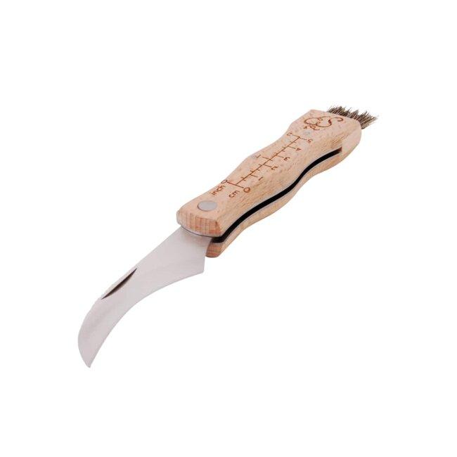 Pilzmesser mit Pinsel aus Buchenholz gefertigt