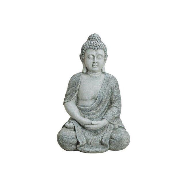 Buddha sitzend in Grau, ca. 62 cm