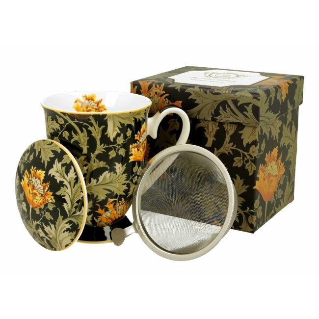 """Tasse mit Sieb """"Chrysanthemen"""", ca. 325 ml"""