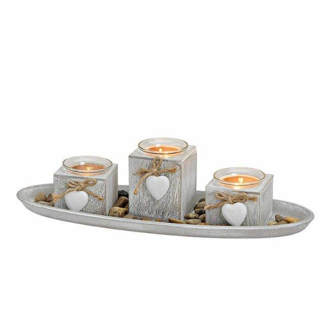 Windlicht Tablett mit 3 Teelichthalter, ca. 39 cm