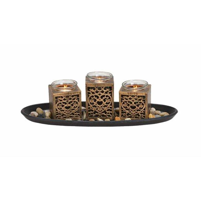 Teelichthalter schwarz-gold, 5er Set