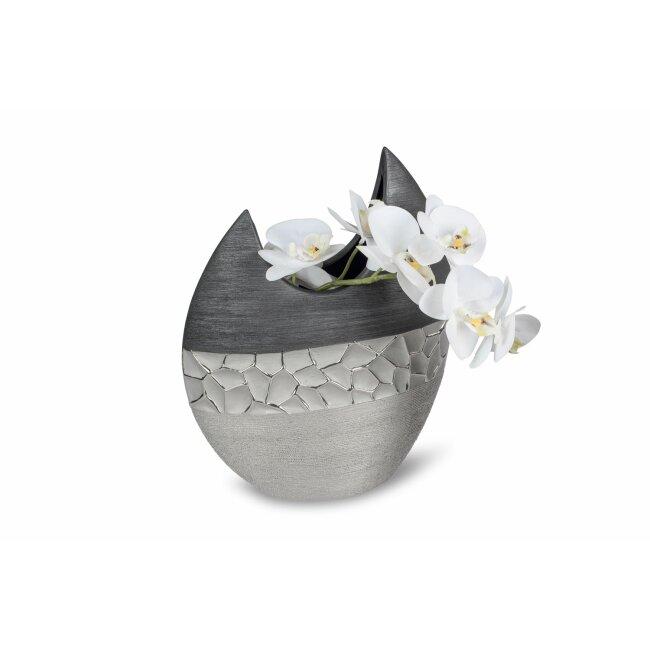 Vase flach, silber-grau, ca. 21 cm