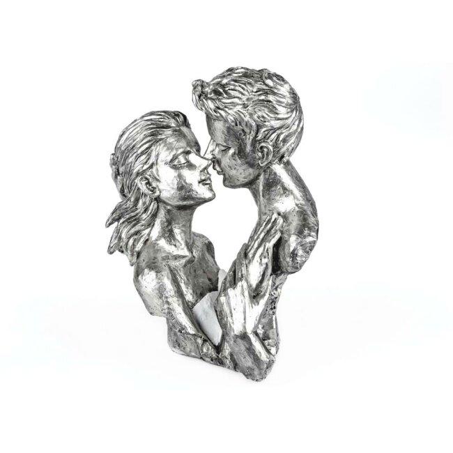Büste Paar, weiss-silber, ca. 29 cm