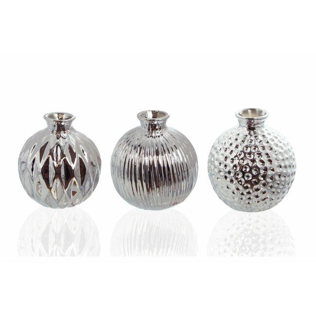 """Vase """"Silberschein"""", 3er Set, ca. 8 x 9 cm"""