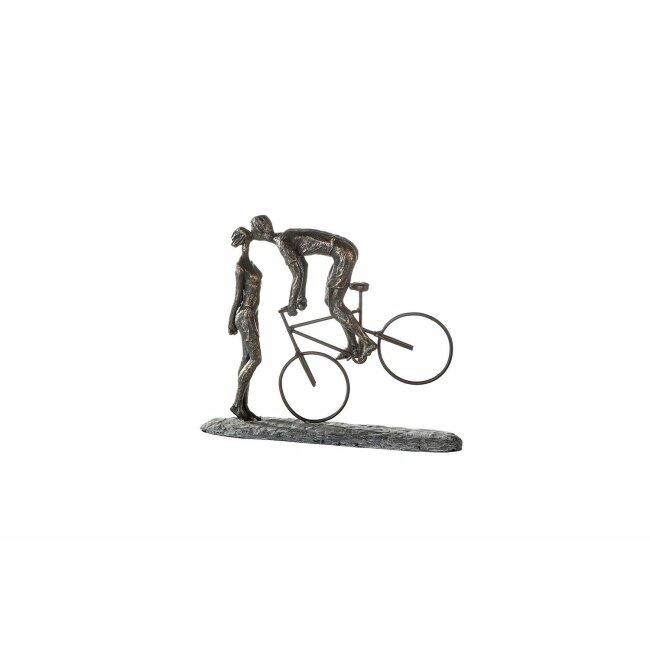 """Skulptur """"Kiss me"""", Poly, bronzefarben, ca. 30 x 36 cm"""