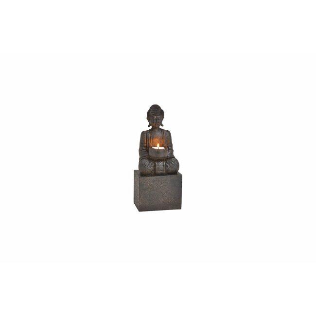 Teelichthalter Buddha schwarz, ca. 12 x 30 x 9 cm