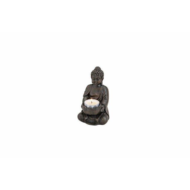 Buddha mit Teelichthalter braun, ca. 9 x 8 x 14 cm