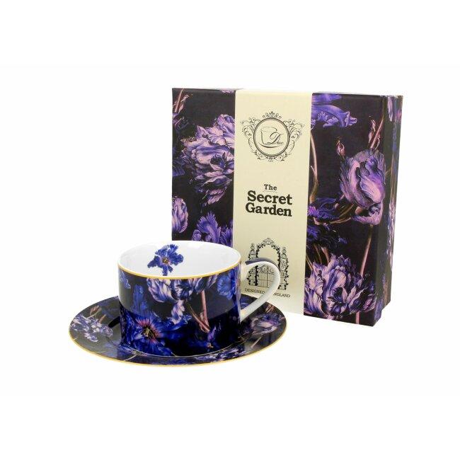 """Tasse mit Untertasse """"Violet Tulips"""", ca. 240 ml"""
