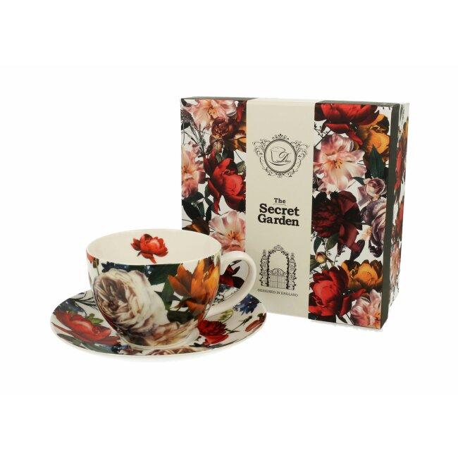 "Tasse mit Untertasse ""White Roses"", ca. 270 ml"