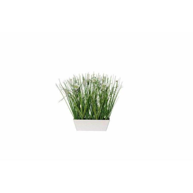 Gras in Schale mit Blüten creme, ca. 37 cm