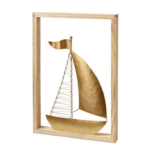 Schiff Metall im Holzrahmen, weiß/ gold, ca. 24 x 3 cm
