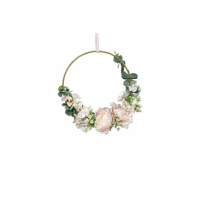 Dekoring mit Blumen, Goldring Hoop, rose, ca. 36 cm
