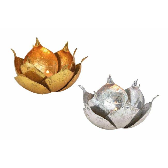 Windlicht Lotus aus Metall, ca. 20 x 12 x 20 cm