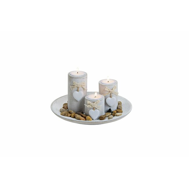 Teelichthalter 3er Set mit Dekosteine, ca. 24 x 12 x 24 cm