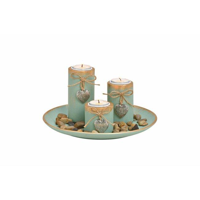 Teelichthalter mit Dekosteinen aus Holz, grün, ca. 25 x 13 x 25 cm