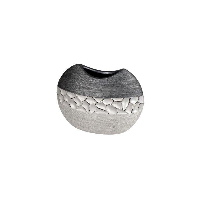 Vase, silber-grau, ca. 21 x 17 cm